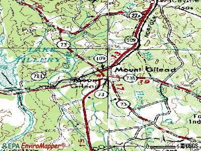 Mount Gilead topographic map