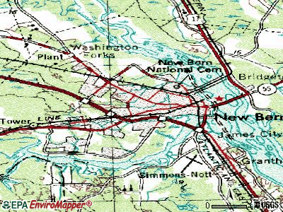New Bern topographic map