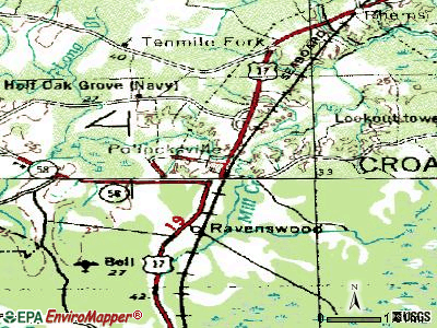 Pollocksville topographic map
