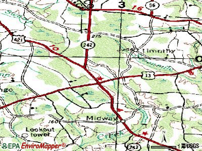 Spiveys Corner topographic map