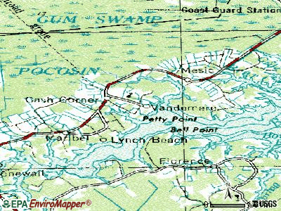 Vandemere topographic map