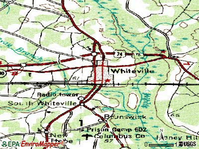 Whiteville topographic map