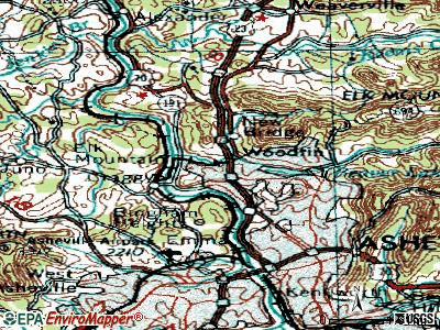 Woodfin topographic map