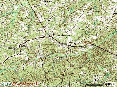 Yanceyville topographic map