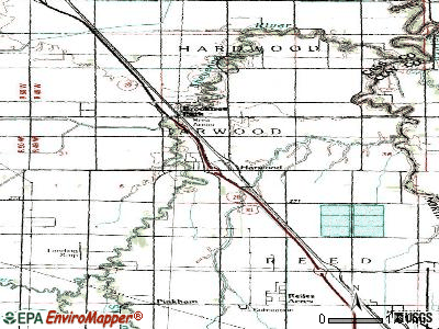 Harwood topographic map