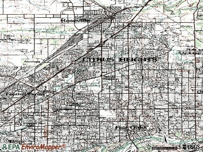 Citrus Heights topographic map