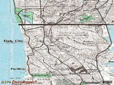 Colma topographic map