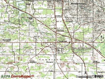Canfield topographic map
