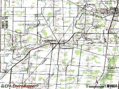 Cardington topographic map