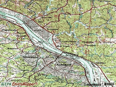 Coal Grove topographic map