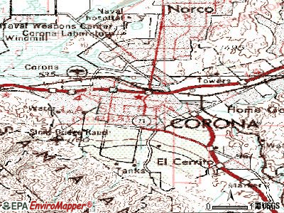 Corona topographic map