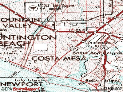 Costa Mesa topographic map