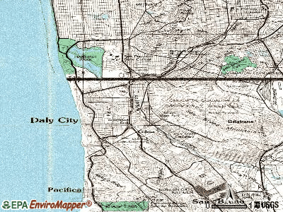 Daly City topographic map