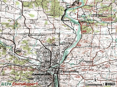 North Zanesville topographic map
