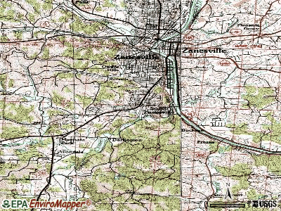 South Zanesville topographic map