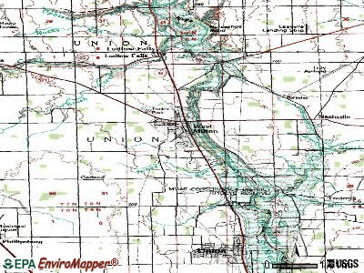 West Milton topographic map