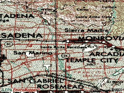 East Pasadena topographic map