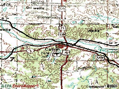 Calvin topographic map