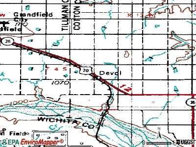 Devol topographic map