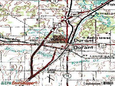 Durant topographic map