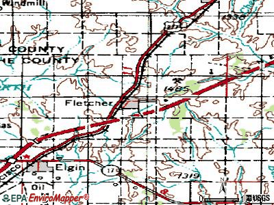 Fletcher topographic map