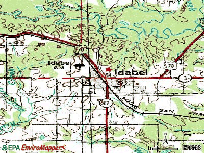 Idabel topographic map