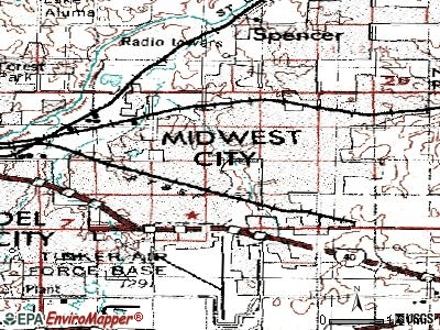 Midwest City topographic map