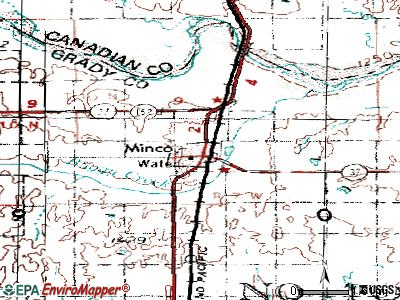 Minco topographic map