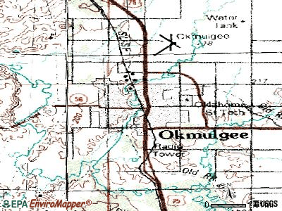 Okmulgee topographic map