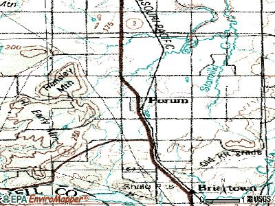 Porum topographic map