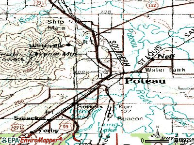 Poteau topographic map