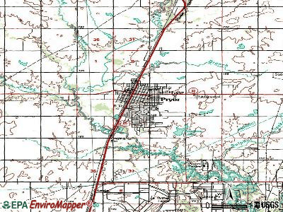 Pryor Creek topographic map