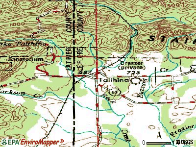 Talihina topographic map