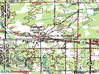 Valliant topographic map