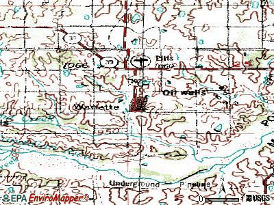 Wanette topographic map