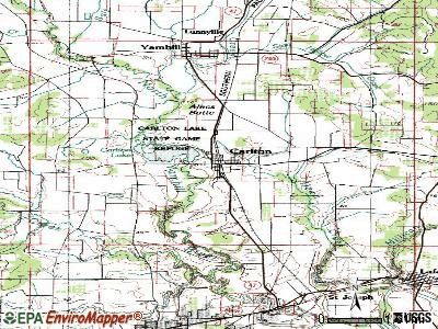 Carlton topographic map