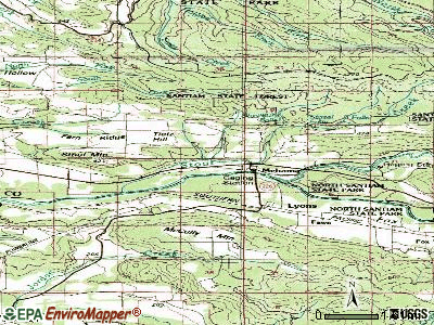 Mehama topographic map