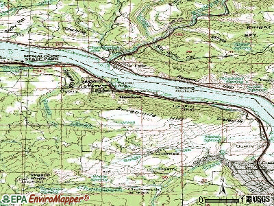 Rowena topographic map