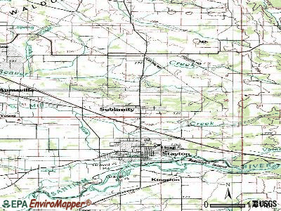 Sublimity topographic map