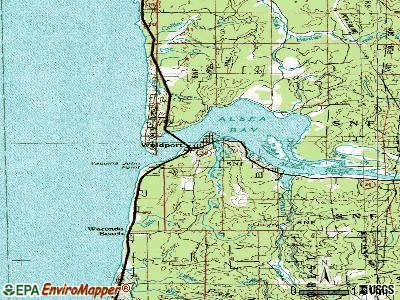 Waldport topographic map