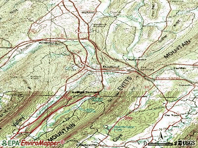 Bedford topographic map
