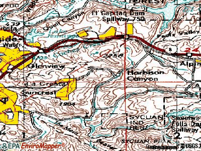 Harbison Canyon topographic map