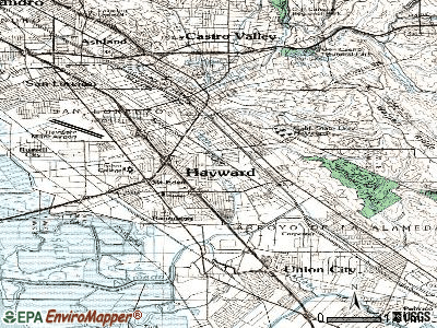 Hayward topographic map