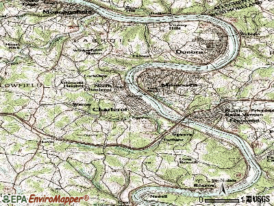 Charleroi topographic map