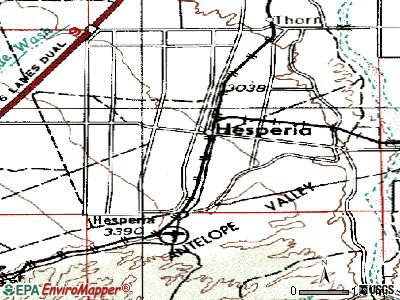 Hesperia topographic map