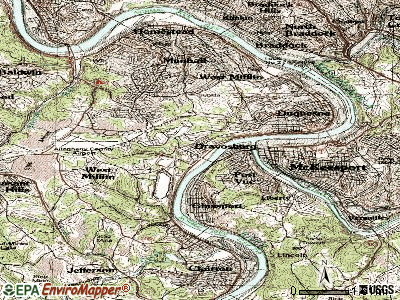 Dravosburg topographic map