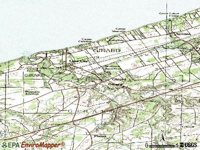 Girard topographic map
