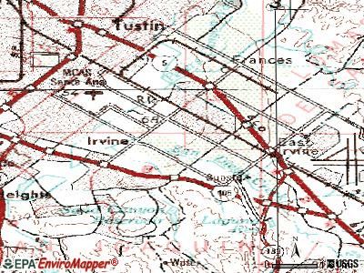 Irvine topographic map