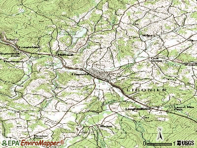 Ligonier topographic map