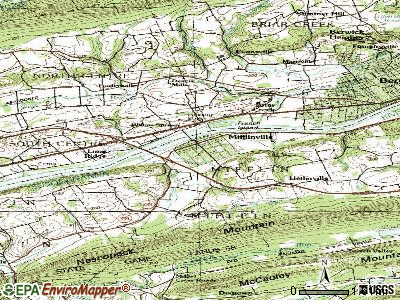 Mifflinville topographic map